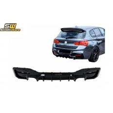 Splitter / Διαχύτης πίσω προφυλακτήρα BMW 1 Series F20 F21 LCI (2015-2019) Piano Black με διπλή απόληξη εξάτμισης