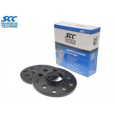 10mm Σετ αποστάτες τροχών με χειλάκι SCC Διπλού καρέ: 5x112 & 5x100 Κέντρο 57,1mm O - (12118W) - 6065 Alu Μάυρο