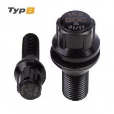 Μπουλόνι Ασφαλείας Type B M12x1,25 / Μήκος: 24mm / Κλειδί: 17 / Κωνικό 60° Μαύρο